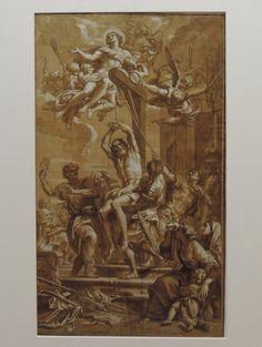 """Anonymer barocker Meister, """"Die Marter des St. Blasius"""", meisterhafte Sepia-Zeichnung 17. Jh., o. Rahmen Darstellung des Martyriums des Heiligen St. Blasius, umgeben von seinen Peinigern, den Frauen und über ihm der schwebende Jesus mit Engeln, Feder in Sepia/weiß gehöht, Papier alt auf Papier aufgezogen, 60 x 35 cm, rückseitig alte Beschriftung, hier Carlo Maratta zugeschrieben sowie: """"Vormals Coll. d. Graf v. Heydeck … aus dem Nachlass des Dr. Pietro Malenza in Verona"""""""