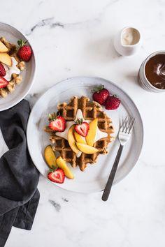 Vegan Vanilla Waffles with Vanilla Maple Cashew Cream | Edible Perspective