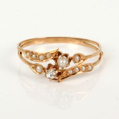 Rose gold Art Nouveau ring with natural pearls & little diamond <3 Hallmarked in France arround 1900