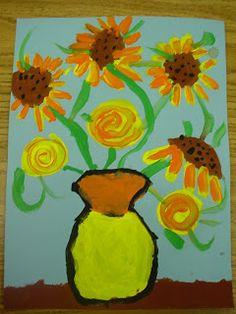 Mrs. Knight's Smartest Artists: Van Gogh's Sunflowers: 1st grade paintings