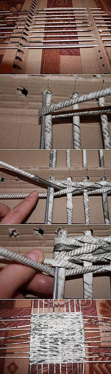 Газетные трубочки. Плетение квадратного дна. 2 часть. / Прочие виды рукоделия / Работа с бумагой: