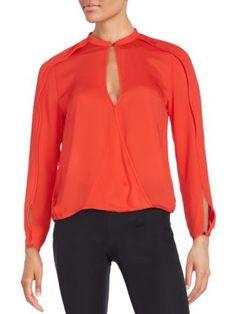 HALSTON HERITAGE Wrap-Front Keyhole Blouse. #halstonheritage #cloth #blouse