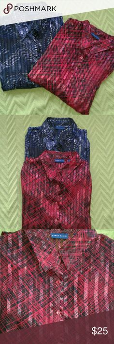 Set of TWO Beautiful Karen Scott Sheer Blouses These blouses are beautiful Karen Scott button down, collared, long sleeved, semi-sheer blouses both in a XL size... bundled to save on shipping and to get a fantastic deal! These are nice and dressy and can be worn dressed up or down or even as a light jacket over another shirt.    They look amazing in person and come from a smoke free home.  **I'm rated as a fast shipper and a top rated seller! Thanks so much for checking out this listing…