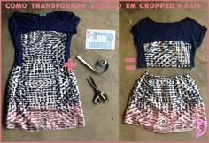 Como transformar um vestido em cropped + saia | How to transform a dress in a cropped + skirt