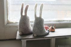 заяц – купить в интернет-магазине на Ярмарке Мастеров с доставкой Hare, Rabbits, Needle Felting, Spinning, Art Dolls, Creatures, Knitting, Ideas, Felting