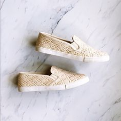 Gianni Bini Slip On Lace Summer Sneakers PERFECT condition! Only tried on for the pictures. Super cute summer sneakers, easy slide on and slide off. Cream color goes with anything! Gianni Bini Shoes Sneakers