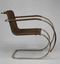 """""""MR"""" armchair, 1927 The architect and designer Ludwig Mies van der Rohe is one of the best-known exponents of International Style modernism. His """"less-is-more"""" philosophy has become a catchphrase for much twentieth-century design, though a preference for luxurious and costly materials often underscores the deceptive simplicity of his elegant and refined designs."""