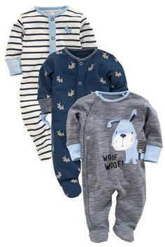 Buy Three Pack Navy Dog Sleepsuits (0-18mths) from the Next UK online shop