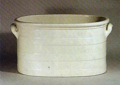 Queen's ware foot bath, c1800. These utilitarian vessels are now sought after for use as jardinieres.