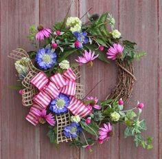 Spring Wreath Wildflower Wreath Rustic Grapevine by HilltopRustics