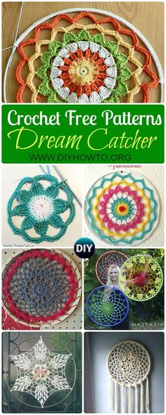 Crochet DreamCatcher & SunCatcher Free Patterns: Creative Ways to Crochet rounds and mandalas.  via @diyhowto