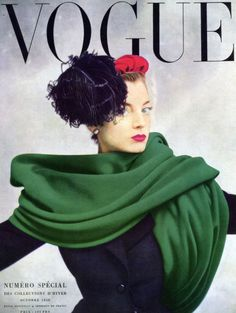 Regine Debrise wearing Balenciaga on the cover of Paris Vogue, October 1950. Photo by Irving Penn.