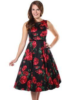 Red Rose Hepburn, circle dress by Lady Vintage http://www.misswindyshop.com #dress #rose #floral #black #vintage #fifties #circle