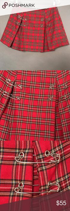 PLAID MINI SKIRT WITH SAFETY PINS from Lip Service PLAID MINI SKIRT WITH SAFETY PINS from Lip Service  This skirt is in perfect condition and has really cool safety pints on the front.   No pulls, tears, holes, stains or any other bad stuff.   Any questions, hit me! Lip Service Skirts Mini