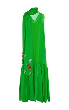 Sleeveless V Neck Cotton Long Dress by DELPOZO for Preorder on Moda Operandi