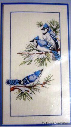 From The Heart Cross Stitch Kit Blue Jays Winter Scene Vintage 1986 NIP OOP | eBay