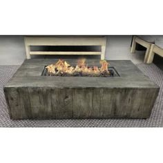 Rosecliff Heights Mobley Concrete Propane Gas Fire Pit Table Size: x x Finish: Grey Outdoor Fire Table, Outdoor Propane Fire Pit, Gas Fire Pit Table, Fireplace Outdoor, Gas Fireplace, Outdoor Fun, Outdoor Dining, Outdoor Spaces, Wood Fire Pit