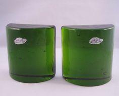 Vintage Mid Century Blenko Heavy Green Crystal Glass Half Moon Bookends w/ Label