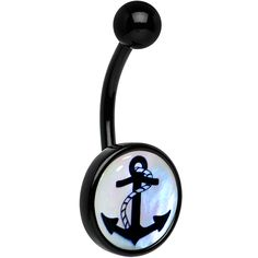 Mother of Pearl Nautical Anchor Belly Ring #bellyring #bodycandy #piercing $7.99