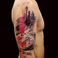 Theme of Prague. Tattoo by Adam Kremer, Tribo Tattoo, Prague ... #tattoo #abstract #art #artistic #ink #splash #inksplash #watercolor #aquarelle #sketch #sketchart #scrap #trash #polka #trashpolka #photoshop #adam #kremer #adamkremer #czech #tribo #black #red #prague #city #clock #time #arm #sleeve #tribotattoo