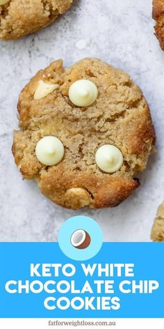 There is nothing more delicious than keto white chocolate chip cookies that are low carb, sugar-free and best of all keto-friendly. This simple recipe is based of my popular Keto Chocolate Chip Cookies recipe, and is just as easy to make. Keto Chocolate Chip Cookie Recipe, White Chocolate Chip Cookies, Keto Chocolate Chips, Cookie Recipes, Healthy Low Carb Recipes, Ketogenic Recipes, Keto Recipes, Soup Recipes, Dinner Recipes
