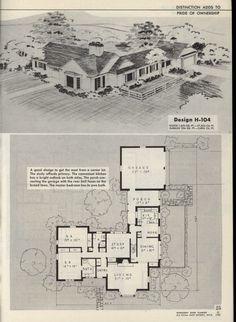 New revised enlarged home planner, series 72 good american home designs Vintage House Plans, Modern House Plans, Small House Plans, Vintage Homes, Cottage Floor Plans, House Floor Plans, Building Plans, Building A House, American Home Design