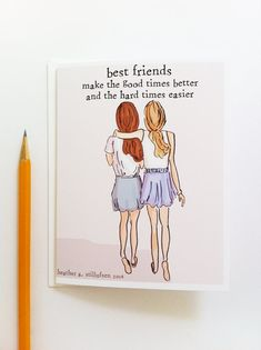 presents bff Miss You Card - Best Friends Card - Bon Voyage Card - Miss You Card - Card for Friends Best Friend Birthday Cards, Best Friend Cards, Friend Birthday Gifts, Best Friend Gifts, Gifts For Friends, About Best Friend, Diy Birthday Ideas For Best Friend, Diy Cards For Friends, Quotes For Best Friends