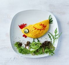 Lee s Easter-themed creation made with an omelet zucchini cheese seaweed ketchup and red capsicum Cute Snacks, Cute Food, Good Food, Yummy Food, Baby Food Recipes, Yummy Recipes, Cooking Recipes, Cooking Tips, Kreative Snacks