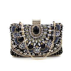 2015 New Arrivals Handmade Retro Gem diamond evening bag Vintage Black Gemstone Small Bead Beaded Crystal Handbag For Queen