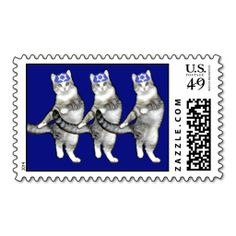 Dancing Hanukkah Cats - Sheet of Postage Stamps. It is really great to make each letter a special delivery! Add a unique touch to invites or cards with your own photos or text. Just click the image to learn more!