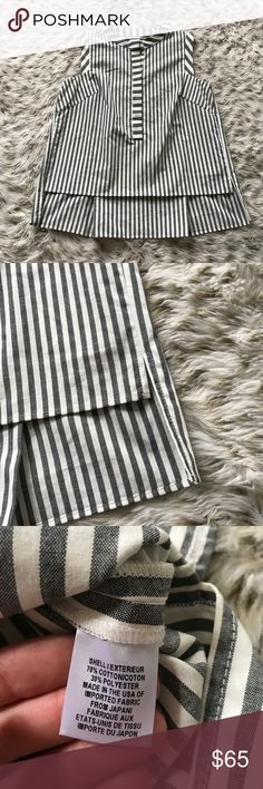 Milly striped Sleeveless Blouse Milly striped Boxy Blouse! Size small! Excellent used condition! Buttons down about half way. Longer in back than front! Super cute and comfy! Pleated in the back! Gray and white stripes! Milly Tops Blouses