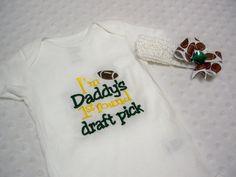 Baby Girl Football Onesie and Headband Bow by grinsandgigglesbaby1, $22.50