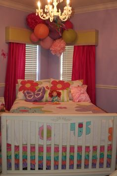 Purple, green and pink little girls room