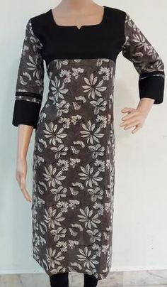 Daily wear kurtis from Ashimafashionstore . View our collection of kurtis online Printed Kurti Designs, Simple Kurti Designs, Stylish Dress Designs, Kurta Designs Women, Salwar Designs, Neck Designs For Suits, Dress Neck Designs, Kerala Saree Blouse Designs, Kurtha Designs