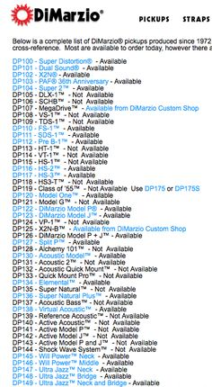 Complete list of DiMarzio® pickups produced since 1972.