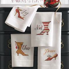 Set of Four Holiday Shoe Hand Towels Set of Four Holiday Shoe Hand Towels (35882) $29.00 4 out of 5 1 review | Write a review | Be the first to ask a question. Put your best shoes forward for the holidays with our Holiday Shoe Hand Towels. You'll enjoy the collectible, sentimental quality of these decorative towels for ...