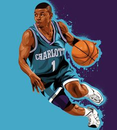 785d1c980 Mugsy Bogues  Charlotte Hornets  Illustration - Hooped Up Charlotte Hornets