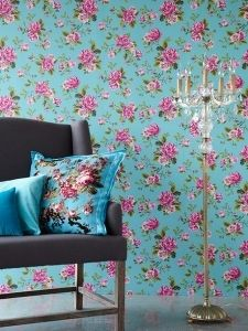 Un Bisou 4 - Super romantisk tapet med store roser på turkis bund. Wallpaper Samples, Wall Wallpaper, Pattern Wallpaper, Green Wallpaper, Wallpaper Ideas, Flower Wallpaper, Design Rosa, Ruby Room, Floral Vintage