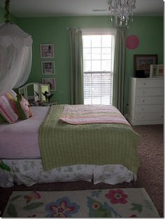 girls room \ pink and green bedroom \ pottery barn kids \ pink chandelier