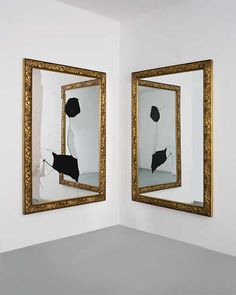 Michelangelo Pistoletto Two Less One, Italy, 2009 Mirror, golden and black wood Two elements 180/120 cm each  Courtesy of Galleria Continua, San Gimignano / Beijing / La Moulin