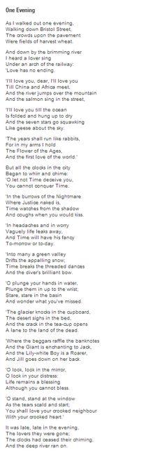 One Evening by W. H. Auden