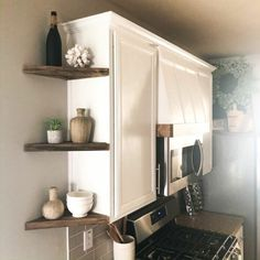 I've always wanted open shelving in my kitchen but I dont have a ton of space to work with. So I'm setting out to make my own corner shelves from scratch! Corner Shelves Kitchen, Diy Corner Shelf, Diy Kitchen Storage, Corner Shelving, Bathroom Storage, Kitchens With Open Shelving, Wall Shelves, Bathroom Ideas, Diy Kitchen Decor