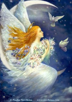 Angel with pigeons by Fantasy-fairy-angel Angel Images, Angel Pictures, Art Magique, Angel Artwork, Angels Beauty, I Believe In Angels, Images Vintage, Illustration, Angels In Heaven