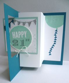Trying a Pop Out Swing Card using Stampin' Up! Celebrate Today and the Balloon Framelits.  see more details on my blog. https://astampingjourney.wordpress.com/2015/04/25/happy-21st-with-celebrate-today/