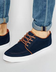 ASOS Lace Up Plimsolls in Navy Canvas