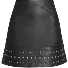TOPSHOP Leather Studded Hem Mini Skirt ($140) ❤ liked on Polyvore featuring skirts, mini skirts, saias, bottoms, topshop, black, black leather miniskirt, high waisted leather skirt, leather miniskirt and high waisted mini skirt