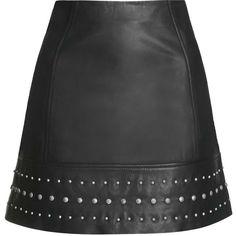TOPSHOP Leather Studded Hem Mini Skirt (€125) ❤ liked on Polyvore featuring skirts, mini skirts, saias, bottoms, topshop, black, short black skirt, short skirts, short mini skirts ve black miniskirt