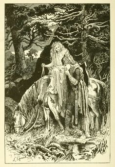 The Blue Poetry Edited by Andrew Lang. Art by Lancelot Speed. What can ail thee, wretched wight, Alone and palely loitering ? The sedge is withered from the. Ink Illustrations, Illustration Art, Art Inspo, Fairytale Art, Fairy Art, Book Fairy, Pretty Art, Faeries, Art Reference