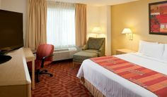 There's plenty of room for relaxation in the King Guest Room at the Fairfield Inn & Suites Orlando Lake Buena Vista in the Marriott Village.