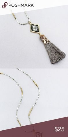 "Seed Bead Diamond and Gray Thread Tassel Necklace Make a statement with this eye-catching tassel pendant necklace!  32"" Long with 2"" Extension Goldtone Faceted Beads and Diamond Shape Accent Seed Beads Approx. 5"" Long Diamond with Seed Bead Shape and Seed Bead Topped Gray Thread Tassel Pendant Lobster Claw Closure Made in India   #Boho Jewelry Necklaces"